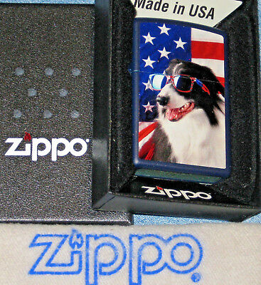 ZIPPO DOG SUNGLASSES FLAG Lighter STARS & STRIPES New  MINT In BOX