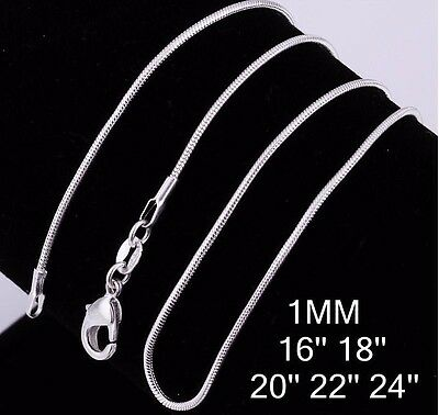 """Stunning Sterling Silver 1MM Classic Snake Necklace Chain 40-60 cm (16-24"""")"""