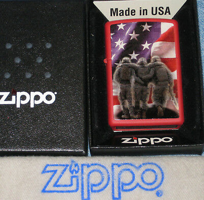 ZIPPO WOUNDED SOLDIERS FLAG Lighter STARS & STRIPES New  MINT In BOX