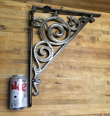 Vintage Industrial Large Architectural Wrought Iron Hanging Bracket Sign Ornate