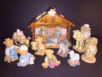 13 Piece Priscilla Hillman, Cherished Teddies, 1992-1994 Nativity Set w/Crèche