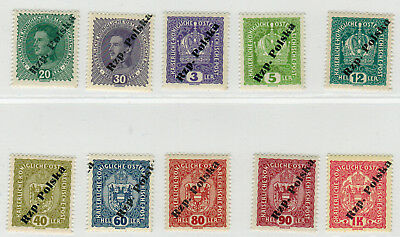 Poland 1918 / 19; Tarnów ed III Type I - set of 10 MNH VF expertized stamps (bl)