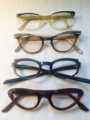 VINTAGE Lot of 4 CAT EYE SPECTACLES  One w/o Lenses AS-IS-AS-SHOWN