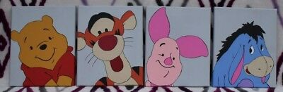 Winnie The Pooh/Piglet/Tigger/Eeyore Set of 4 hand painted 8x10 stretched canvas