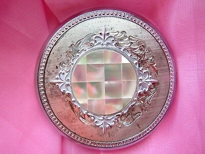 VINTAGE SILVER TONE&  MOTHER of PEARL POWDER MIRROR COMPACT New