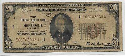 1928 $20 National Currency Note   FR# 1802-2 Minneapolis Bank.