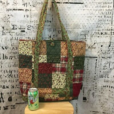 Longaberger Large Maroon Green Quilted Tote Bag