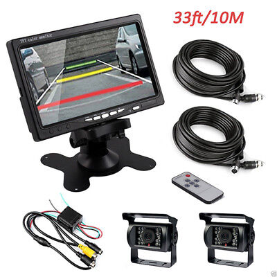 "7"" TFT LCD Rear View Monitor Backup Camera Night Vision System For RV Bus Truck."