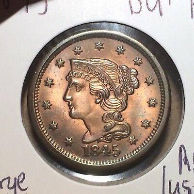 1845 Braided Hair Large Cent BU+ RB