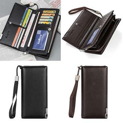 Mens Long Casual PU Leather Wallet Pockets Card Clutch Bifold Purse 2 COLORS