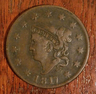 1817 Liberty Coronet Hair copper large cent * U grade *