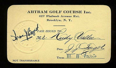 RUDY VALLEE ORIGINAL 1930's AHTRAM GOLF COURSE MEMBERSHIP CARD w/ SIGNED CHECK