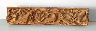 Indian Antique Bird Carved Wooden Panel Old Original Peacock Carved Wooden Panel