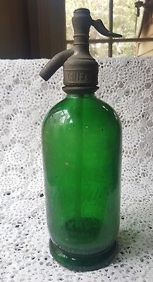 Vintage Green Glass soda syphon,Guerra 41. Fitzroy 1940's.