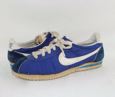 Vintage NIKE Cortez Blue Fabric & Suede Leather Sneakers Trainers JAPAN Sz 6