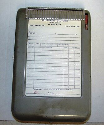 VINTAGE MOORE WIZ PORTABLE DUPLICATE INVOICE RECEIPT METAL DISPENSER * c1950s