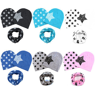 UK Winter Warm Baby Girl Boy Kids Scarves Soft Cotton Beanie Hat Cap Snood Scarf
