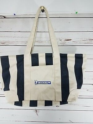 Vintage Michelin Man Advertising Canvas Zip-up Large Tote Bag Great Collectible