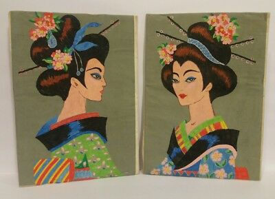Vintage Pair Of Japanese Geisha Drawing On Paper Floral Original Artist Unsigned
