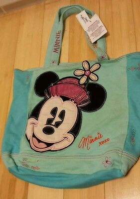 Disney parks large blue and pink soft Minnie Mouse tote bag