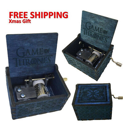 Game of Thrones-Blue Engraved Wooden Music Box interesting Kid Toys Xmas Gifts