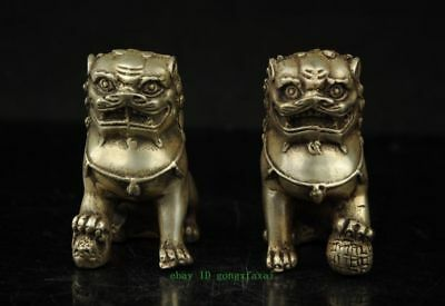 A Pair Old Chinese Silver Copper Handwork Carved Guard Lion Statues Tt509