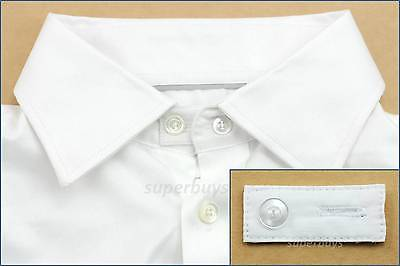 White Cotton Collar Expand Widen Business Shirt Blouse Cuff Neck Button Size Tie