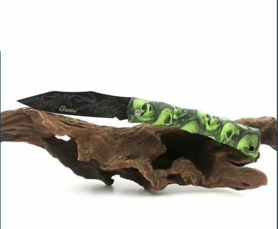 "Wicked Crazy ""GREEN SKULLS BLACK POCKET KNIFE"" 17.5cmx2cm Collect(E7)BAD BOYZ SA"