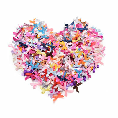 Mini Satin Ribbon Flowers Bows Gift Craft Wedding Decoration ornament 100Pcs