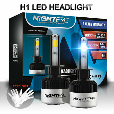 2x Nighteye LED H1 72W 9000LM lampada COB Headlight Kit luce LED per auto 6500K