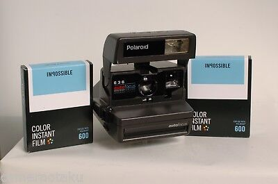 POLAROID 636 close up camera + 2 x Impossible Colour 600 films Tested Works 100%
