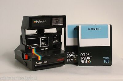 POLAROID 635 CL Super Color camera + 2 x Impossible Colour 600 films! Excellent!