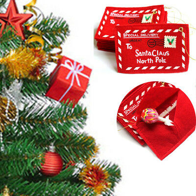 Red Xmas Envelope Greeting Card Candy Bag Tree Hanging Party Wedding Decoration