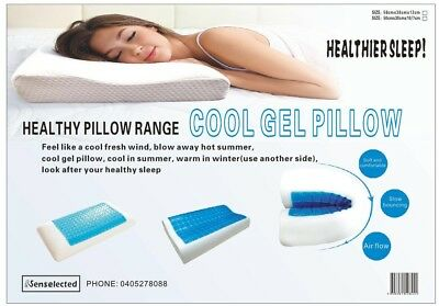 Softness & Comforts Memory Foam Cool Gel  Pillow Bamboo Fiber Cover 60x40CM AU