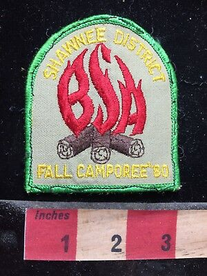Vtg 1980 Shawnee District BSA Spelled In Fire Flames - Boy Scout Patch 77E2