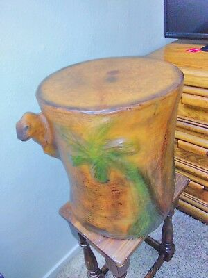 Embossed Camel Leather Covered Paper Mache Accent Table