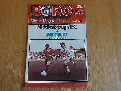 Vintage Programme: Middlesbrough FC v Barnsley FA Cup 5th Round 14 February 1981