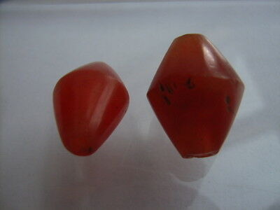 2 Ancient Egyptian Carnelian Beads, Egypt VERY RARE!!  TOP !!