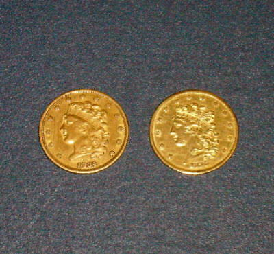 Two 1834 & 1835 CLASSIC Head  BUST GOLD $5 Five Dollar U.S.Half Eagle Coins