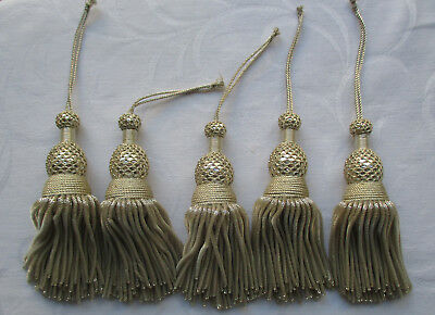 Beautiful Vintage Silver Metallic Tassels Bullion Strands Netted Tops French