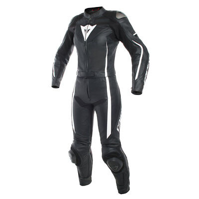 Dainese Assen Black / Black / White Ladies Two Piece Leather Suit All Sizes