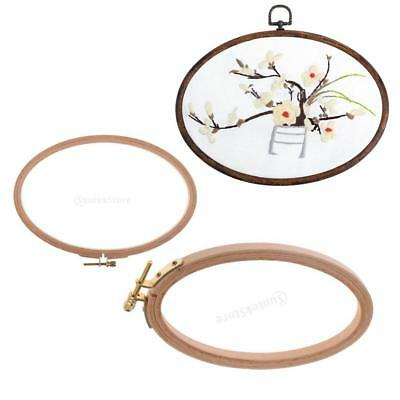 2 Sizes Wood Frame Embroidery Hoop Oval Ring Circle Loop Cross Stitch DIY Tools