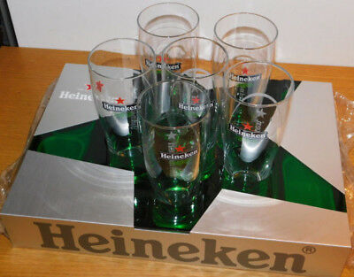 LOT 6 grand VERRE à biere PLATEAU HEINEKEN presentoir BIER Tray BAR pub HOLDER