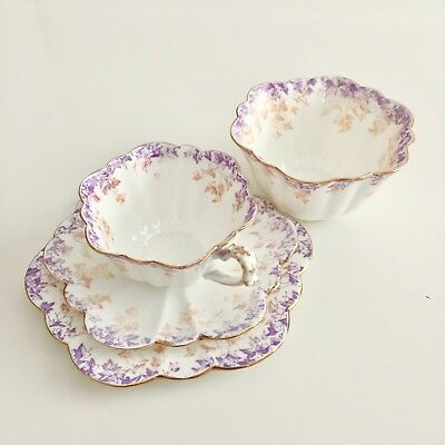 Wileman demitasse cup and bowl, lilac ivy patt 5044 on Empire shape, 1893
