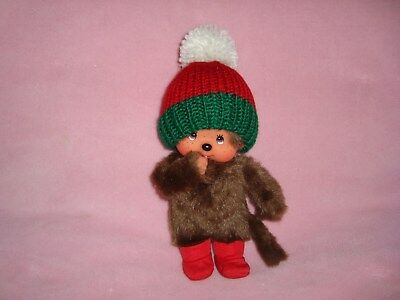 Monchhichi in knitted Christmas Hat Plush Doll W/ Vinyl Face hands & feet 8""