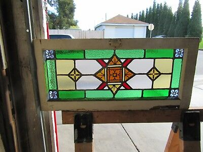 ~ ANTIQUE STAINED GLASS TRANSOM WINDOW ~ 30 x 13 ~ ARCHITECTURAL SALVAGE ~