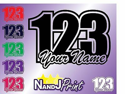 3 x Race number, name stickers decals MX motocross pit bike Standard colour