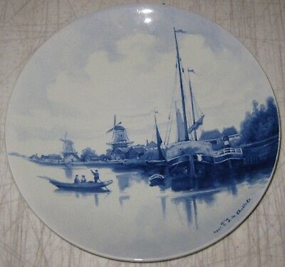 Antique Porceleyne Fles ROYAL DELFT 'Harbor' Painted PLATE aft FJ du CHATTELL