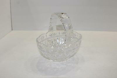 """Clear Crystal Cut pressed Glass EASTER BASKET vintage heavy 7"""" tall with handle"""