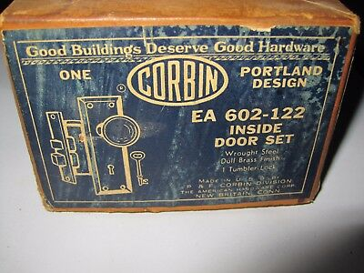 Antique Inside Door Lock Corbon EA 602-122  Lock Brass Vintage NOS